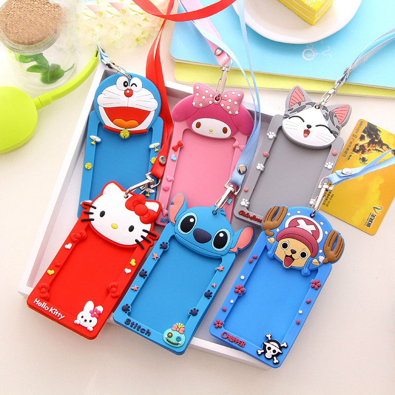 Cute Cartoon Silicone Bus Card Holders / Bank ID Credit Card Holder / Student ID Name Business Credit Cards Cover Wholesale hot portable silicone bus card case holder cute cartoon kitty cat care student id identity badge credit cards cover with lanyard