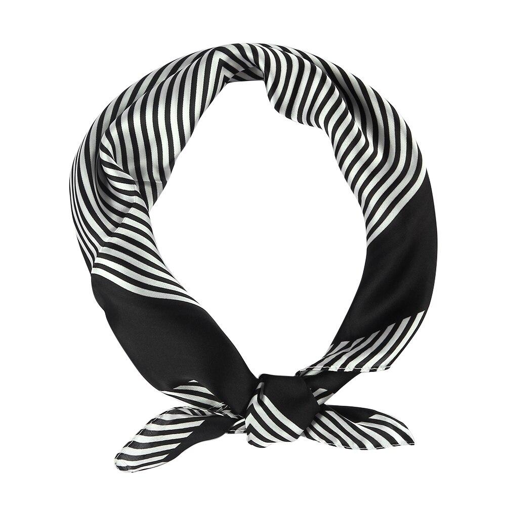 Winfox 2019 Fashion 60cm Black White Striped Square  Headwear Bandana Scarf Neckwear Handkerchief For Womens Ladies