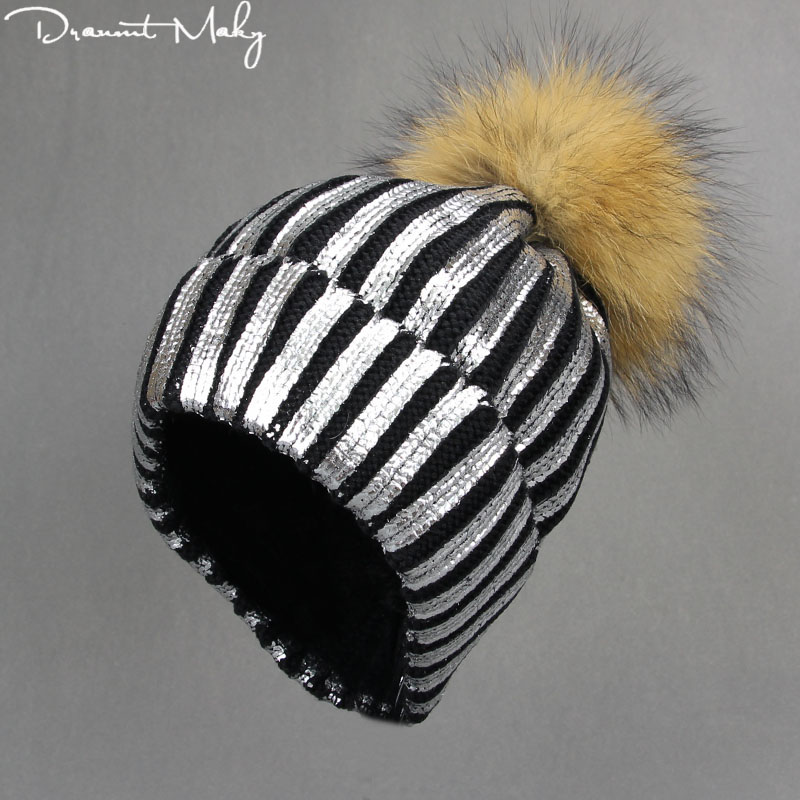 Women's hat Girls Knitted Bronzing Gold Silver Ball Hat For Women Winter fur pompom Hats Female   Skullies     Beanie   Bonnet Warm cap