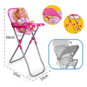 DollNursery Room Furniture Decor - ABS Baby Doll Dining High Chair for 9-12inch Reborn Doll for Mellchan Doll Accessories
