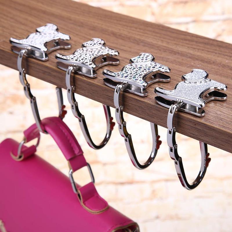 I Love Valentines Pixel Table Hook Folding Bag Desk Hanger Foldable Holder