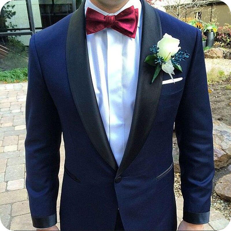 c6fb4b9d0486a Lacivert Takım Elbise Erkek Blazer Düğün Erkek Takım Elbise Pantolon Şal  Yaka Resmi Gece Terno Slim Fit Smokin Ceket Kostüm homme Özel ~ Perfect Sale  June ...