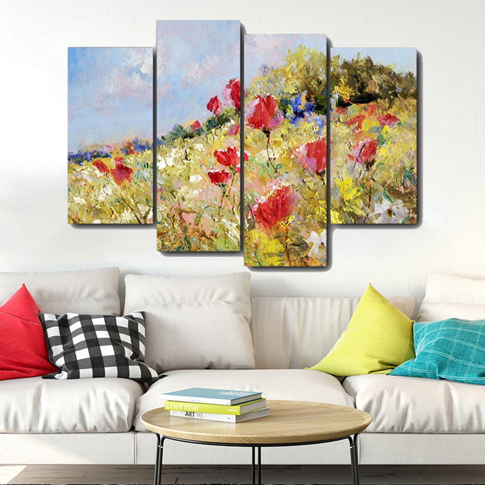 Flowers Mountain Canvas Painting Calligraphy Prints Home Decoration Wall Art Poster Pictures For Living Room Bedroom No Frame in Painting Calligraphy from Home Garden