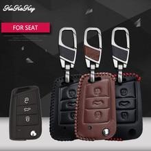 цена на Leather Car Key Case Cover For SEAT Leon Ibiza CUPTRA For VW Polo 2016 Golf 7 MK7 For Skoda Octavia Combi A7 Key Portect Case