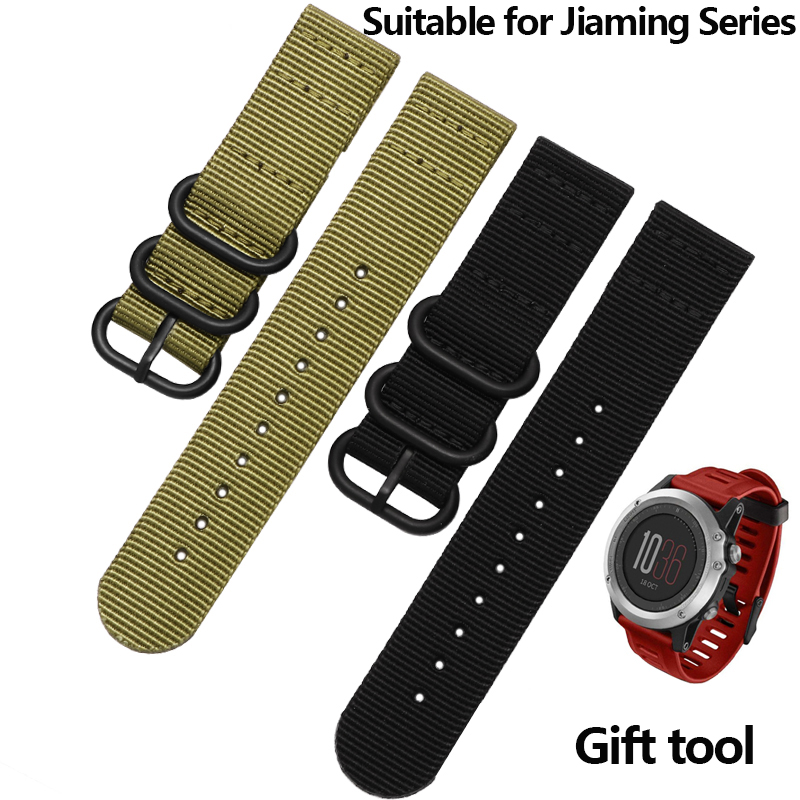 NATO Watchband Nylon Strap Black Ring Buckle 26mm Blue Green Replacement Band For Garmin Fenix 3 Watch Accessories