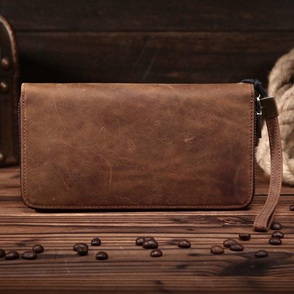 YISHEN Vintage Unisex valódi bőr pénztárca cipzáras férfiak tengelykapcsoló táskák luxus szervező női kártya tartó táskák érme erszényes 8801