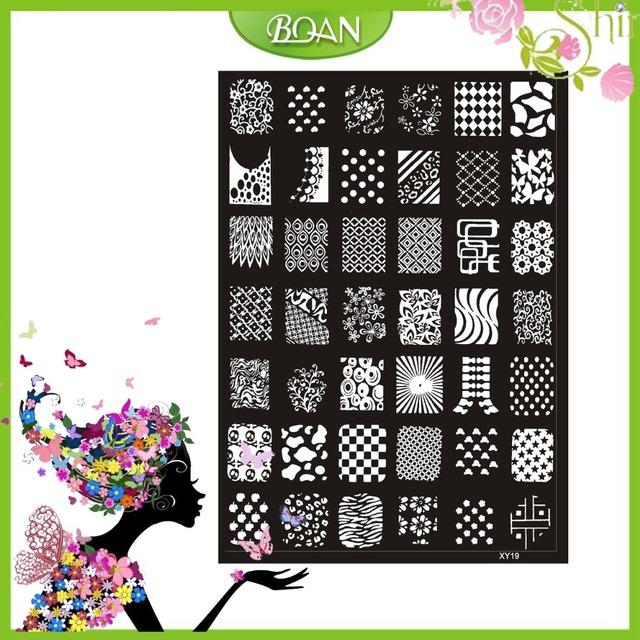 10 Unids Nuevo Diseño BQAN Acero Inoxidable Intercambiable Líneas/Flor de la Serie de Imágenes Nail Plate Estampación XY19