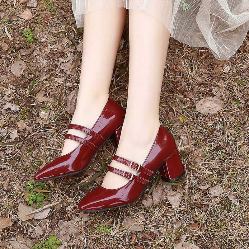 456088eb7 Spring/autumn new lolita shoes woman double buckle mary janes thick high  heels ladies british