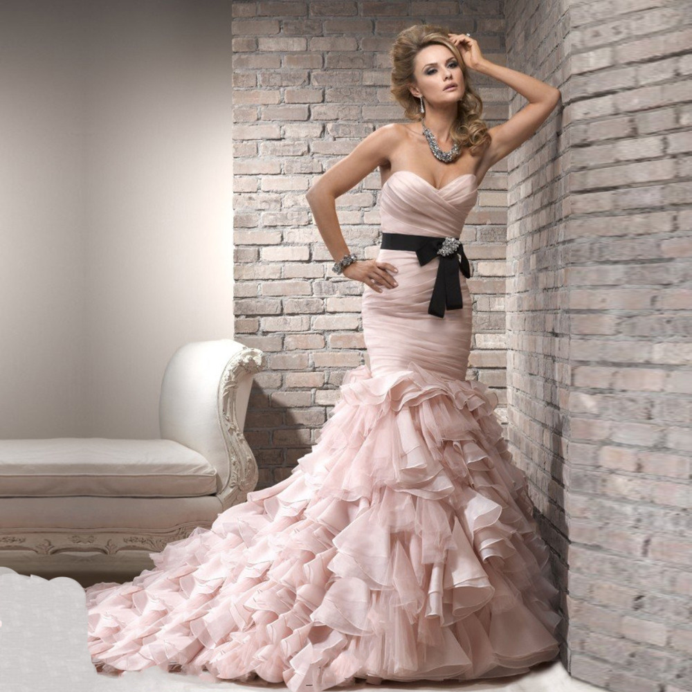 Unique Sweetheart Pink Organza Black Ribbon Mermaid Court