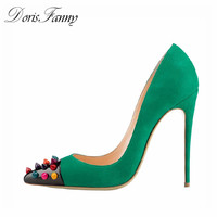DorisFanny Green party shoes for women pointed toe heels sexy designer high heels free shipping