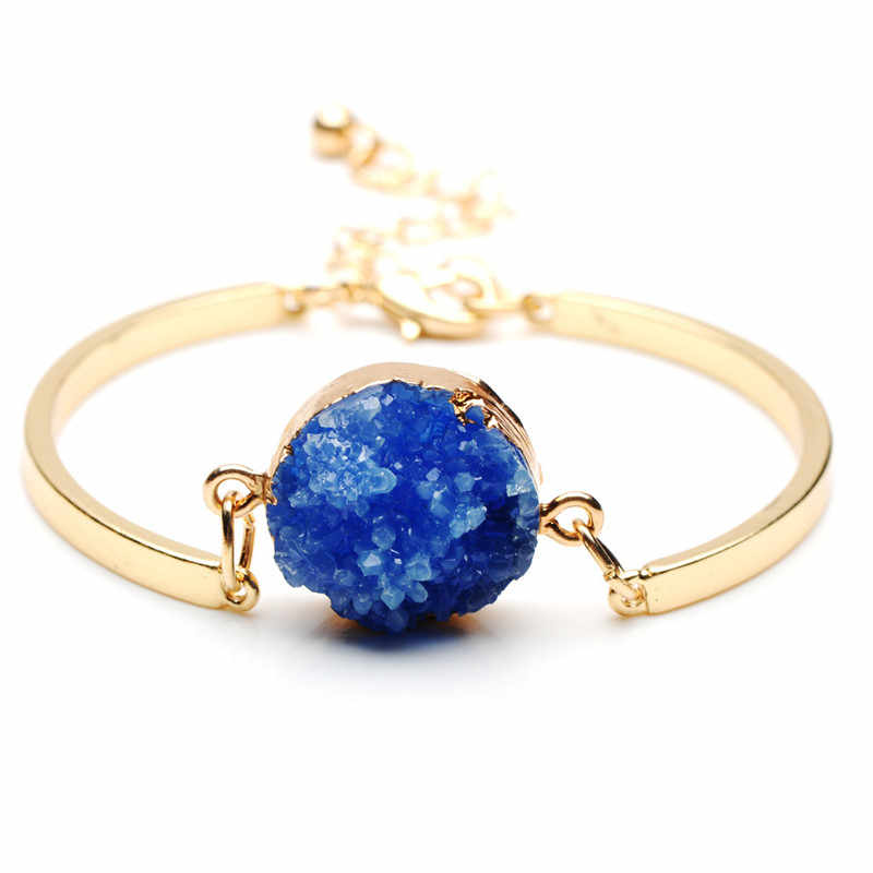 Crazy Feng Charms สีฟ้าสีม่วงและสีขาวหินธรรมชาติสร้อยข้อมือและกำไลข้อมือสำหรับสตรีแฟชั่นสี Cuff Pulseiras Femininas