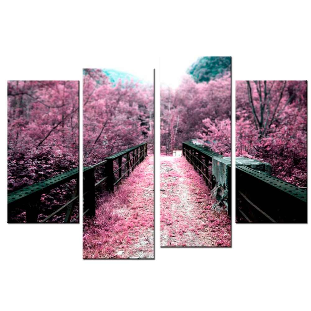 4 Panels/Set Cherry blossoms painting Wall Art Printed On Canvas Wall Pictures For Living Room Decorative paintings