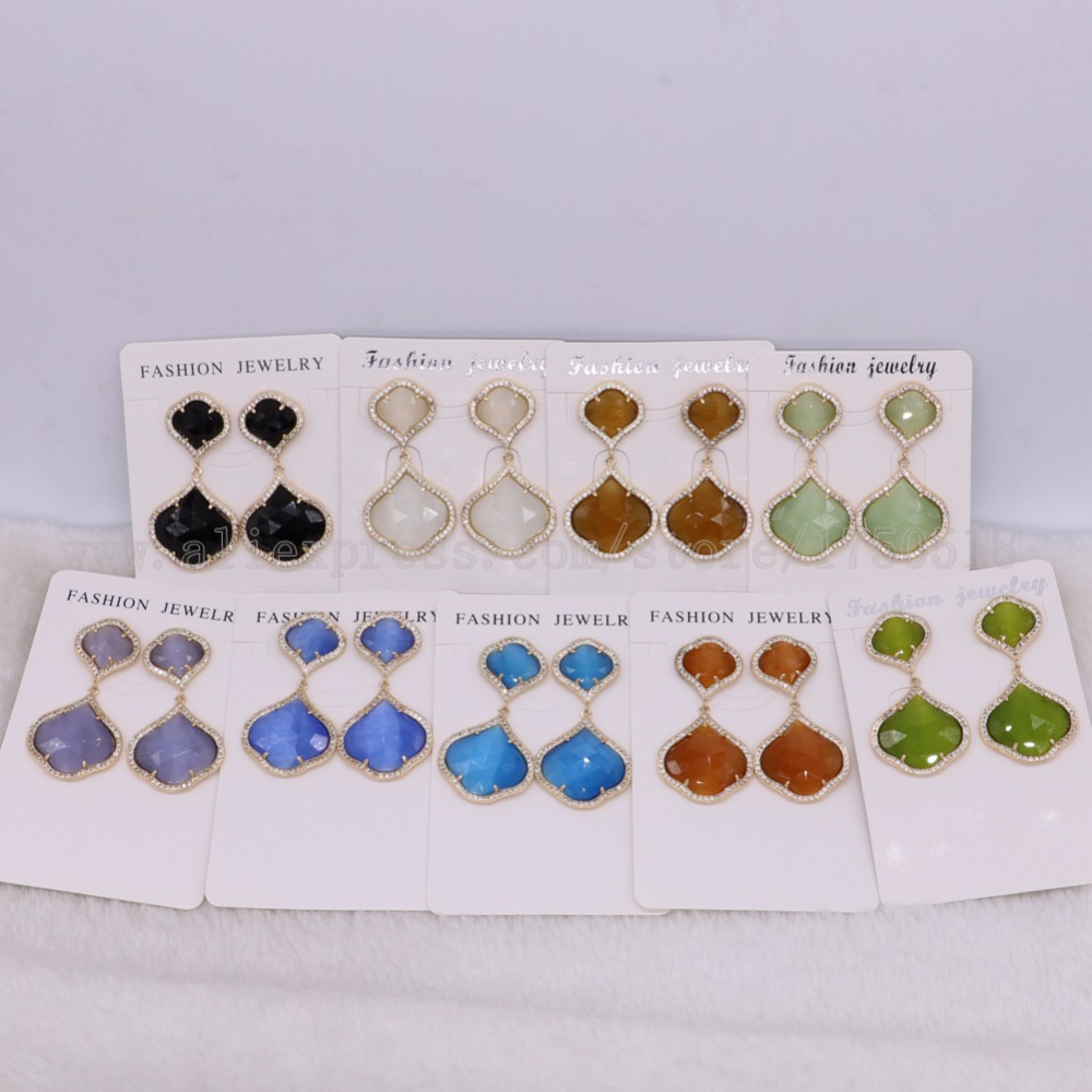 Fashion Mix color Faceted Flower shape stone & metal dangle earrings High quality drop earrings  earrings  Gems jewelry 2469