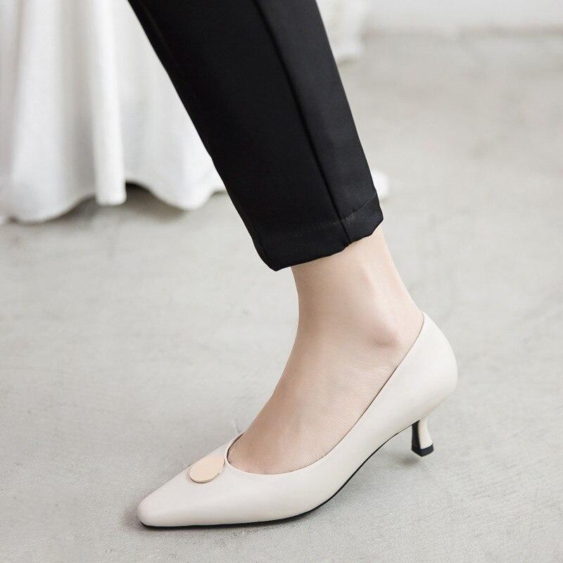 Chaussures Vache Partie Mince Élégantes Office apricot Pointu En De Talons Bout Talon Pompes Beige Haute Lady Femmes Cuir xSYpnwqP