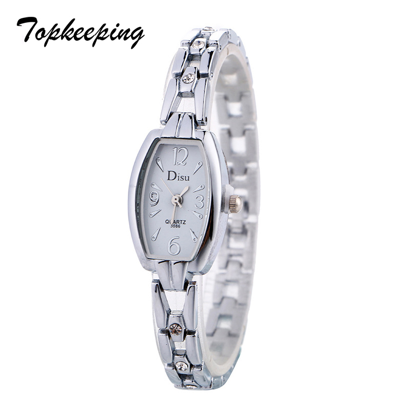 Topkeeping Brand 2018 Vintage Fashion Women Dress Watches Alloy Bracelet Square Mini Watch Ladies Rhinestone Quartz Wristwatches 6 colors fashion rhinestone women jewelry watch vintage square mini dial bracelet fancy wrist watch for ladies gifts ll
