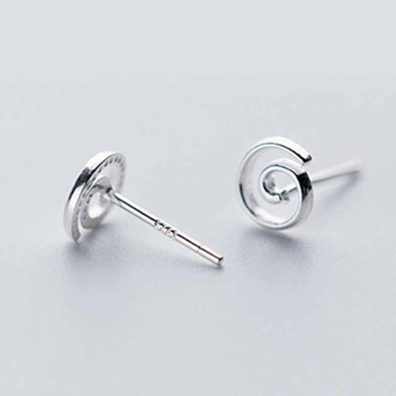 100% 925 스털링 실버 라운드 나선형 모양의 스터드 귀걸이 여성을위한 크리 에이 티브 디자인 패션 쥬얼리