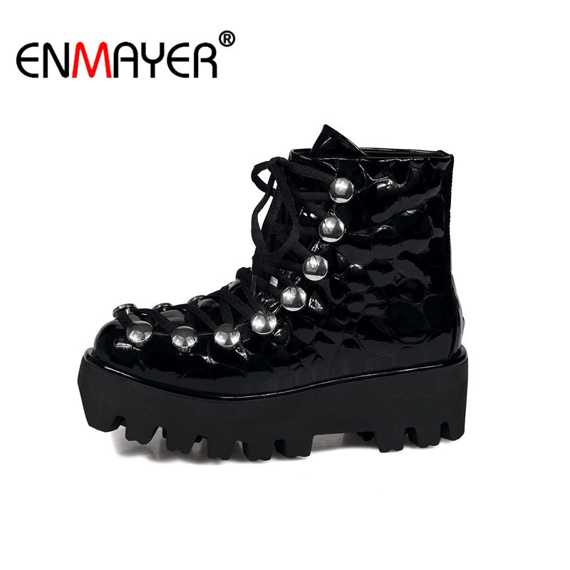 ФОТО ENMAYER Motorcycle BootsLace-Up Round Toe Med Heel Rivet Genuine Leather Women Shoes Hot Fashion Spring/Autumn Women Ankle Boots