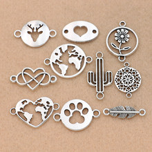 10pcs Mix Antique Silver Plated Map Heart Connector for Jewelry Making Bracelet Accessories Craft DIY handmade Findings 10styles(China)