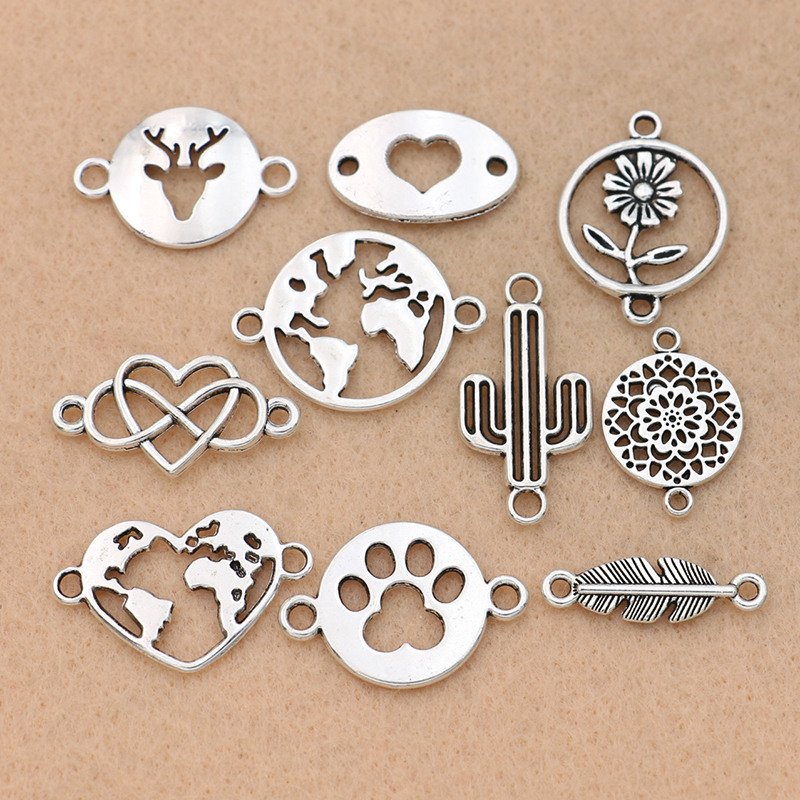 10pcs Mix Antique Silver Plated Map Heart Connector for Jewelry Making Bracelet Accessories Craft DIY handmade Findings 10styles