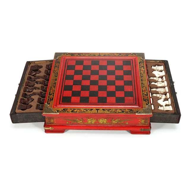Haute qualité 32 pièces/ensemble résine échecs chinois avec Table en bois café Vintage à collectionner cadeau divertissement jeu de société 2