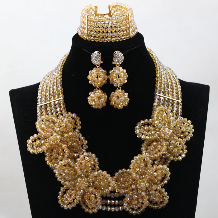 Luxury Pure Gold Champagne Crystal Flower Statement Necklace Set Dubai Wedding Costume Women Jewelry Set Free shipping WD133