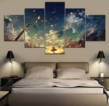 Landscape Anime HD Print Painting Modern Canvas Wall Art 5 Piece For Living Room Artwork