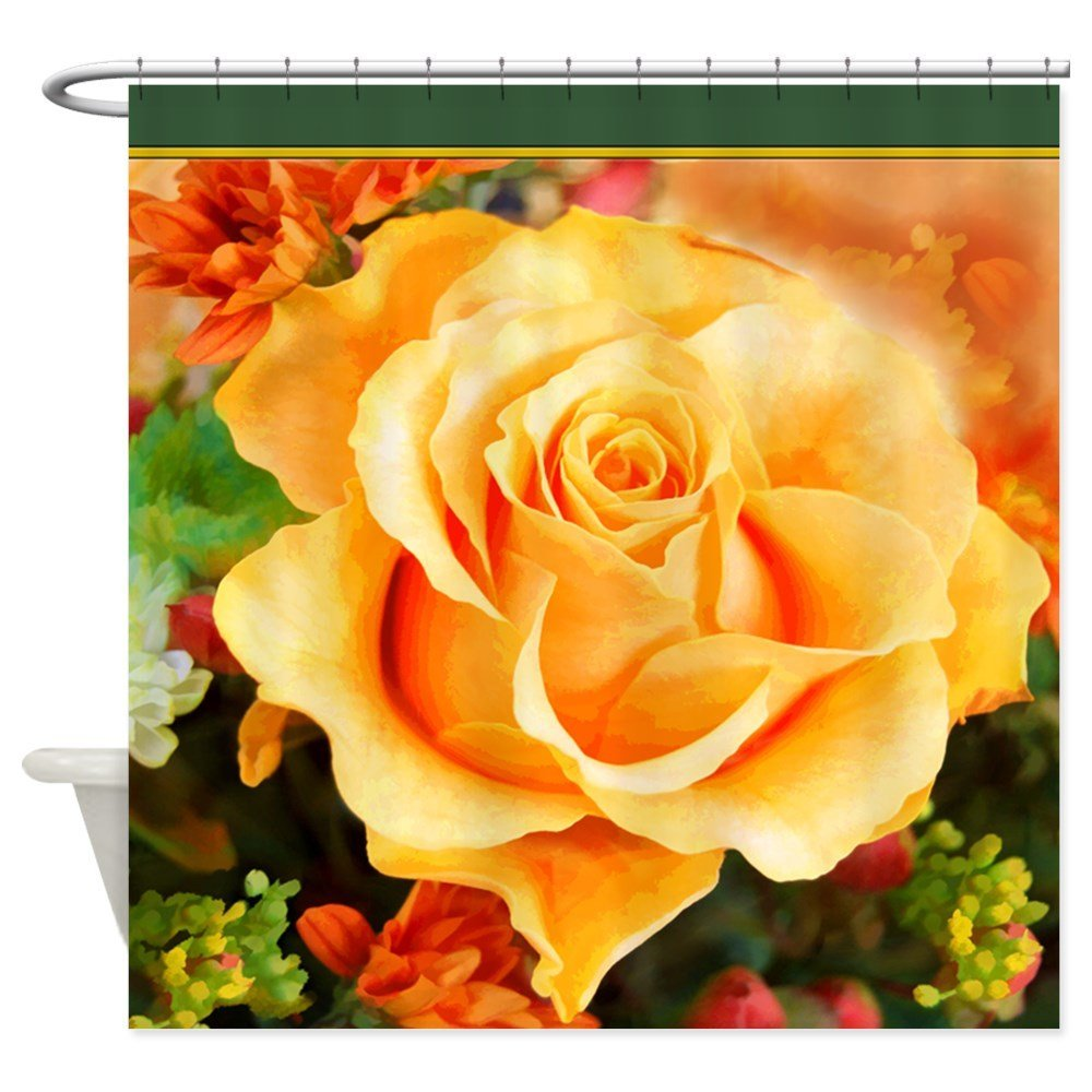 Watercolor Yellow Rose With Orange Accents Shower Decorative Fabric Shower Curtain Set and Anti-slip Floor Mat Outdoor Rugs ...