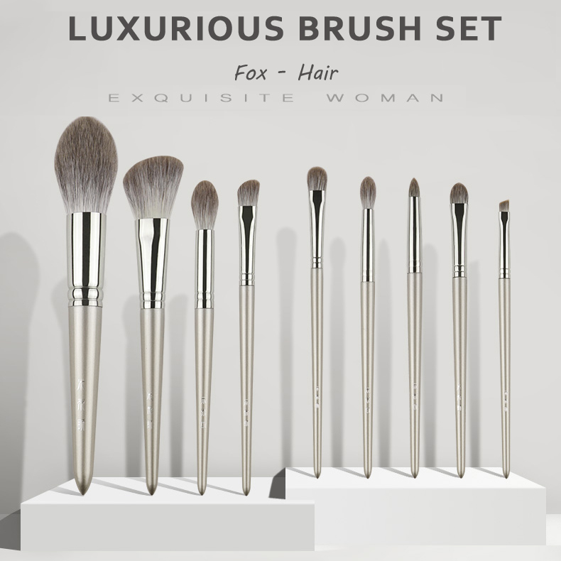 MyDestiny The Luxurious Fox Hair Brush Set 9 Brushes Silky Touch Professional Brush Kit Beauty Makeup