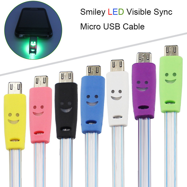 1M Visible LED Light Electroluminescent Flat Micro USB V8 Cable Fast Charging Data Sync Crystal Smile Face for Samsung/Xiaomi/LG