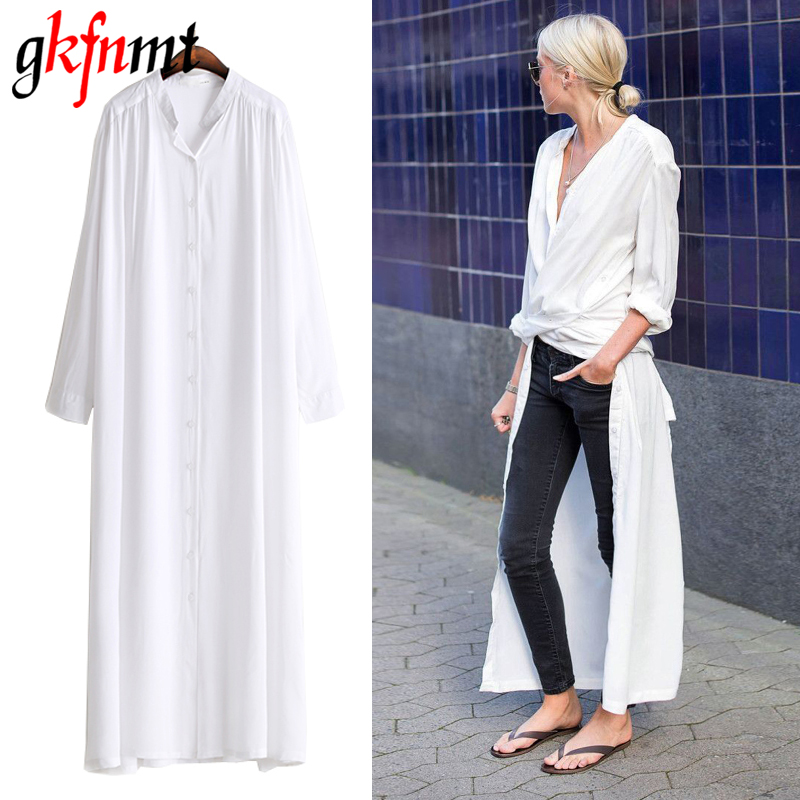 gkfnmt 2018 Summer Women Side Slit Shirt Blouse Long Sleeve Button Down Midi Tops Clothe Korean Fashion Casual Novelty