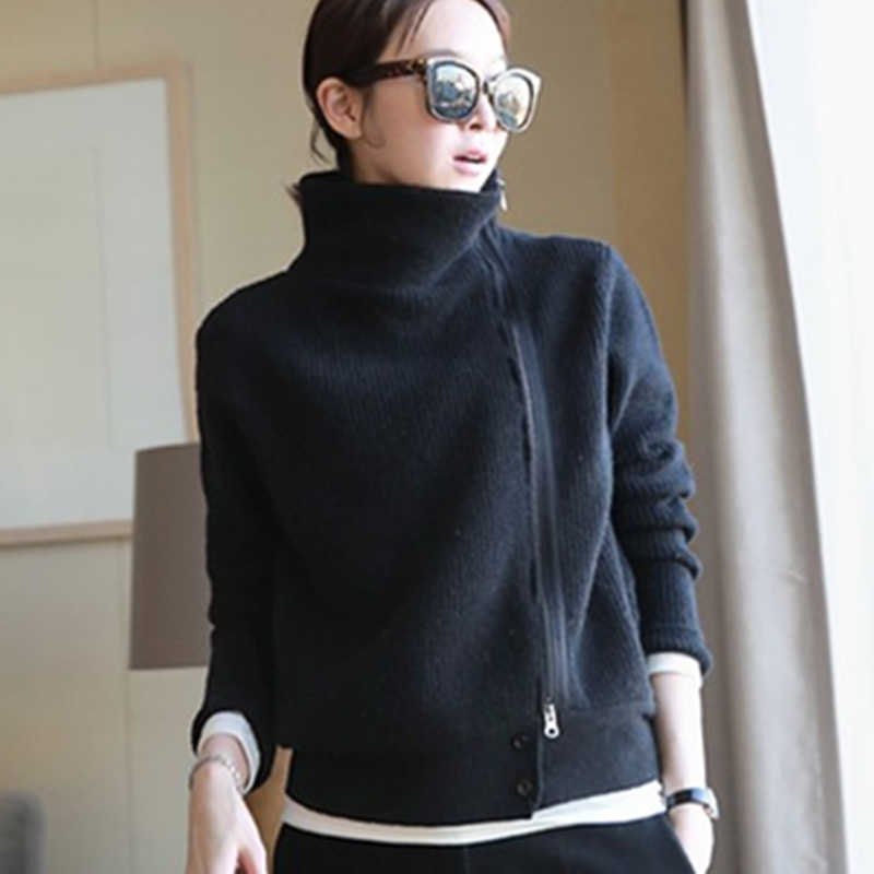 2019 women Cardigan Double thickening loose turtleneck female sweater Ladies' Solid Cashmere Sweater Knitting Cardigans