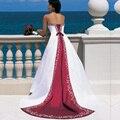 Vestido Де Novia Атласная Вышивка Свадебные Платья 2017 Без Бретелек, босоножки, Суд Поезд Невесты Платья Цветные Заказ