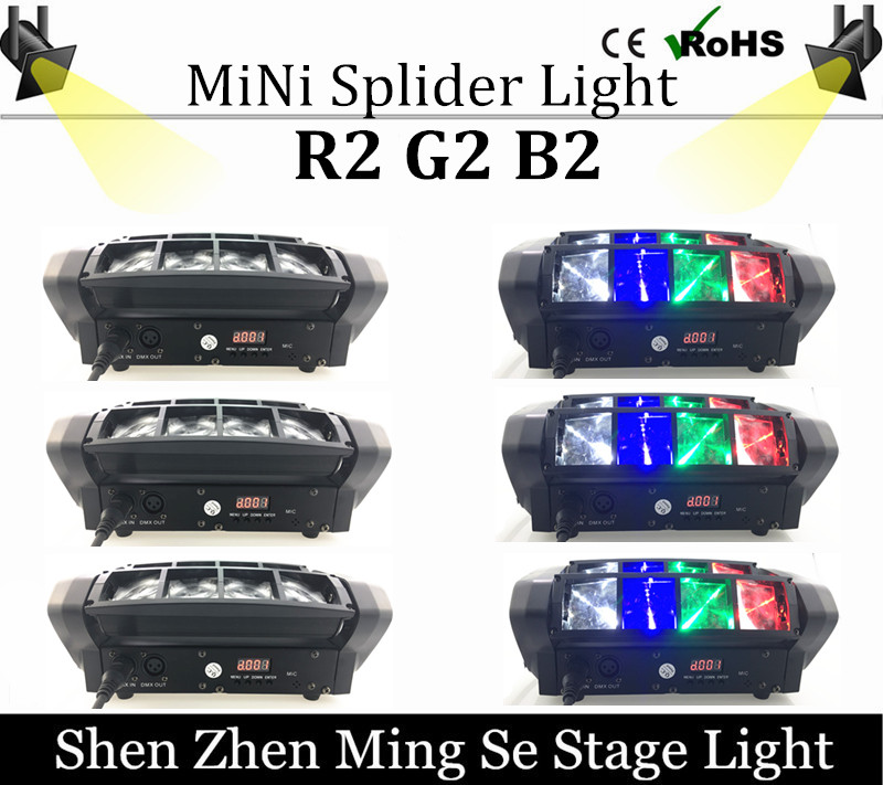 6pcs  Mini LED spider light R2 G2 B2 W2 moving head light beam DMX512 professional DJ equipment the spot scene r b parker s the devil wins