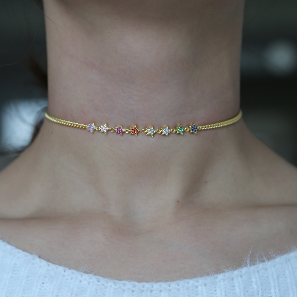 2019 spring new arrived delicate cz star charm choker statement necklace multi layer gold filled rainbow cz beautiful jewelry