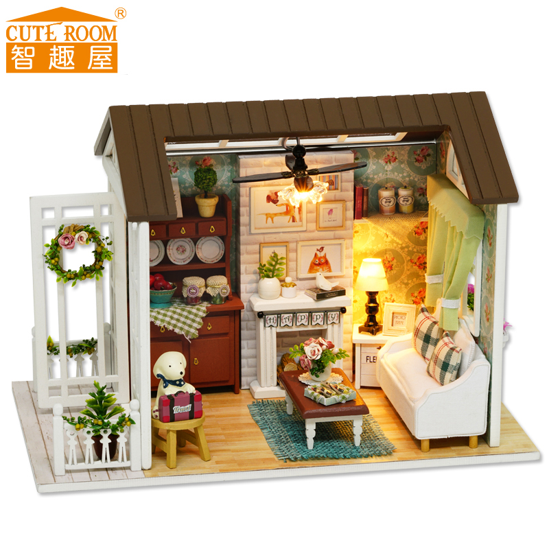 Assemble DIY Wooden House Toy Wooden Miniatura Doll Houses Miniature Dollhouse toys With Furniture LED Lights Birthday Gift z008Assemble DIY Wooden House Toy Wooden Miniatura Doll Houses Miniature Dollhouse toys With Furniture LED Lights Birthday Gift z008