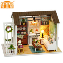 Assemble DIY Wooden House Toy Wooden Miniatura Doll Houses Miniature Dollhouse toys With Furniture LED Lights Birthday Gift z008(China)