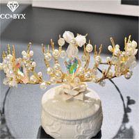 CC Tiaras Crowns Hairbands Luxury Crystal Pearl Wedding Hair Accessories For Women Bride Baroque Design Party
