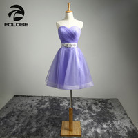 Vestidos de Cocktail Stock Light Purple Sweetheart Tulle Crystal Beading Sash A Line Mini Cocktail Dresses Short Party Gowns
