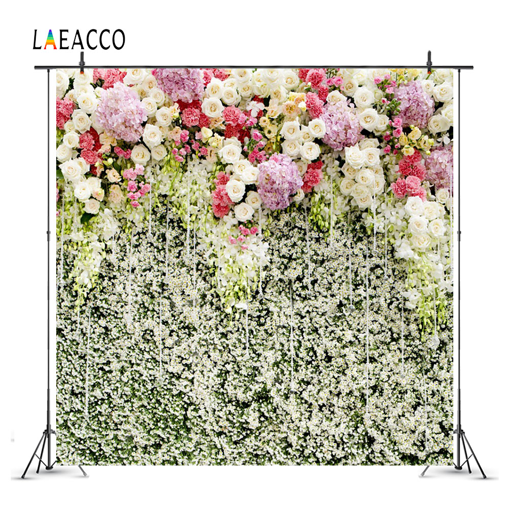 Laeacco Flowers Wall Wedding Portrait Baby Newborn Photography Backgrounds Custom Photographic Backdrops For Home Photo Studio in Background from Consumer Electronics