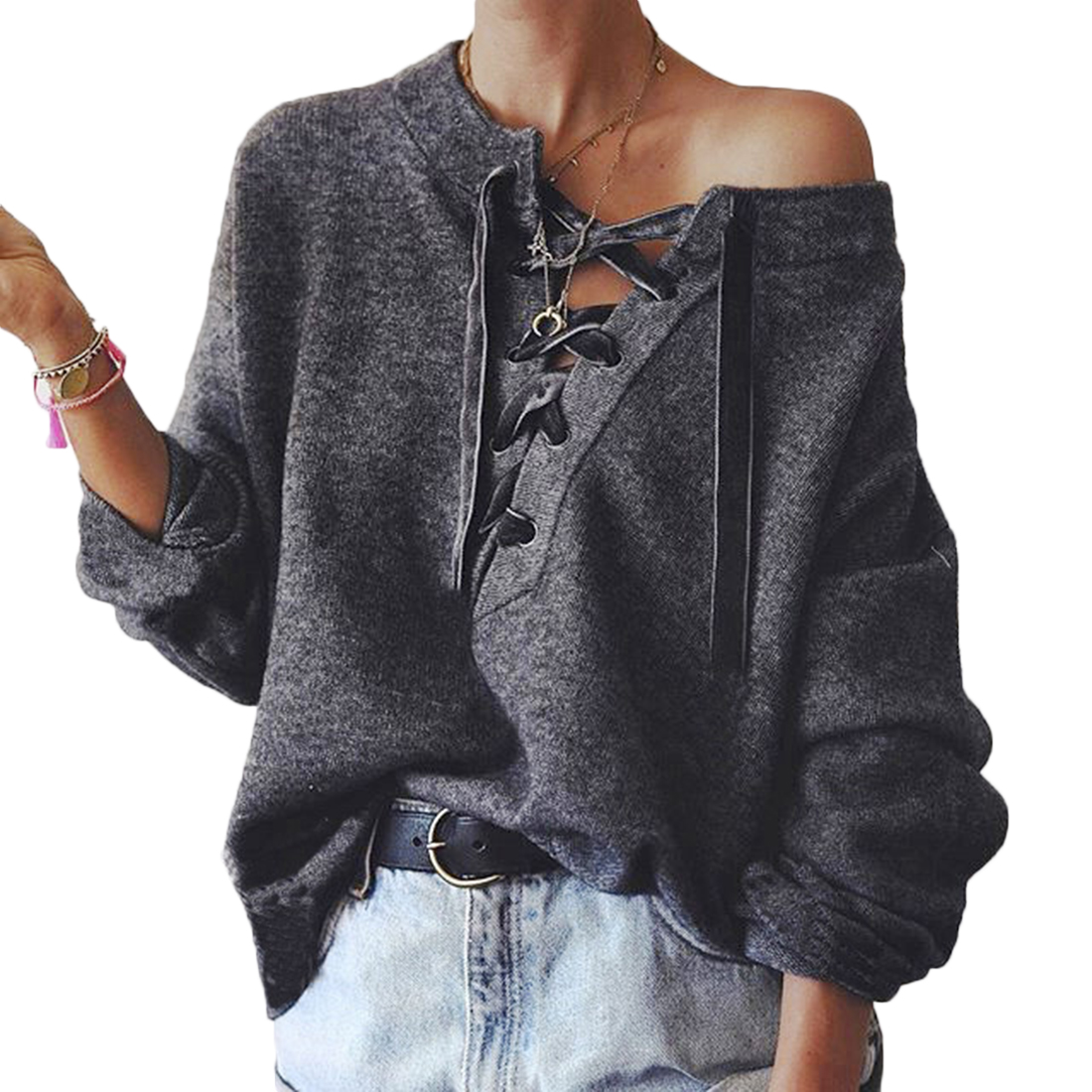 YJSFG HOUSE Hot Winter Warm Sweater Women Lace Up Loose Knitted Coat Long Sleeve Pullover Jumper Outwear Sweater Tops Clothe