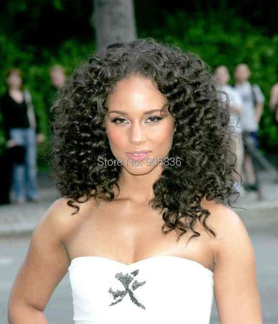 Alicia Keys kinky curly hairstyle black indian remy 100% human hair ...