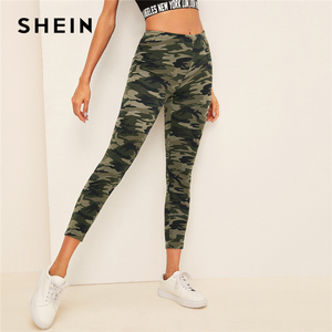 Image 3 - SHEIN Camo Print Leggings Women Leggings 2019 Casual Style Spring Summer Autumn Stretchy Fitness Crop Leggings