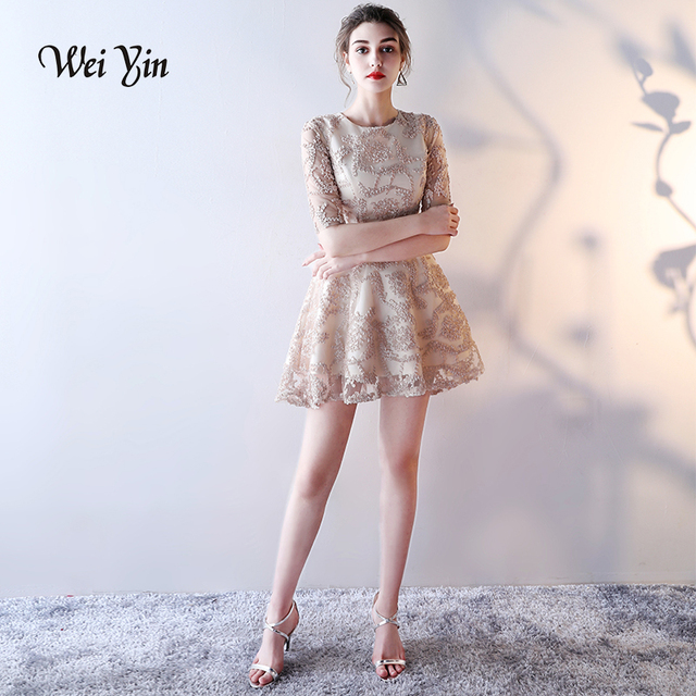Weiyin New Sweet Nude Color Lace Half Sleeves Cocktail Dress The Bride Banquet Elegant Short -1018