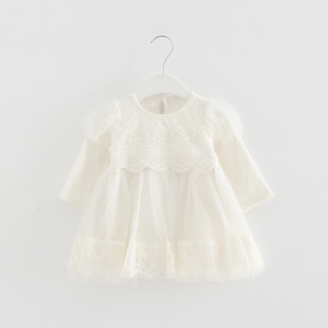 Image 4 - 2020 Spring Newborn Princess Baby Girls Dress Party Birthday Dress Lace Puff Sleeve Baptism Bow Tulle Wedding Dresses 0 2Y