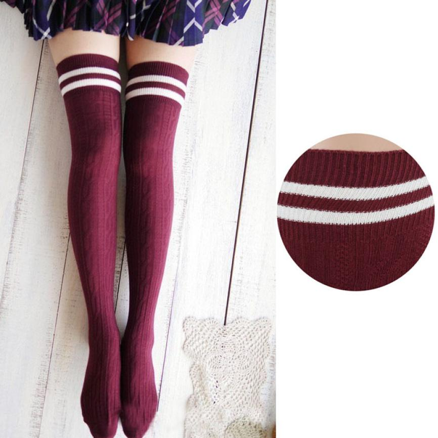 Cute All Kinds College Wind Thigh High Socks Over The Knee Girls Womens Mar 5