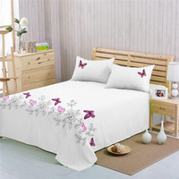 Luxury 1pc Bed Sheet Hotel Quality Ultra Soft Cotton Embroidered Sheets Hypoallergenic King