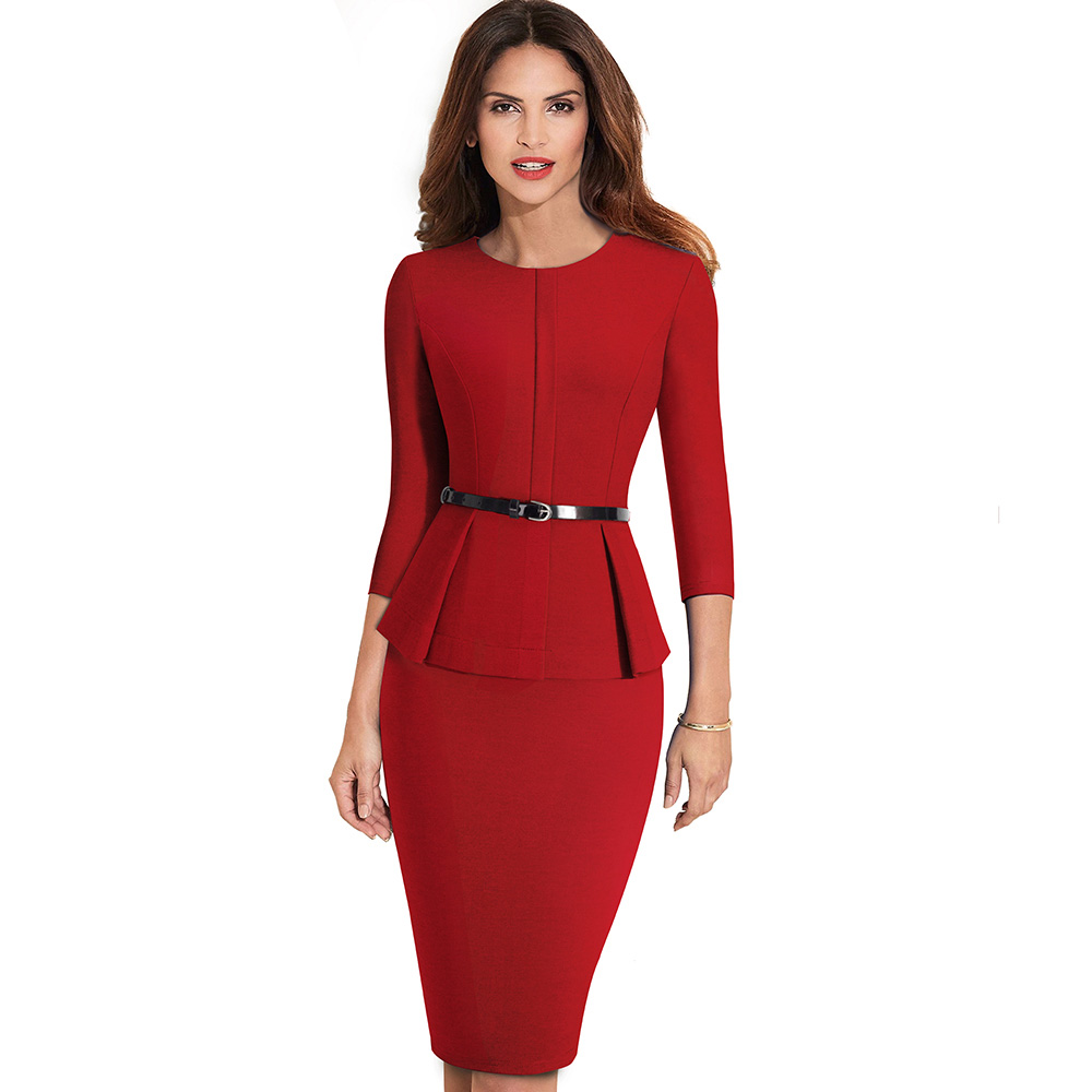 Nice-forever Vintage Elegant Wear to Work with Belt Peplum vestidos Business Party Bodycon Office Career Women Dress B473 12
