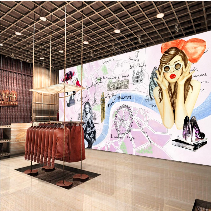wallpaper 3d Custom Stylish beauty hand painted background wall mural mall corridor clothing shop wallpaper