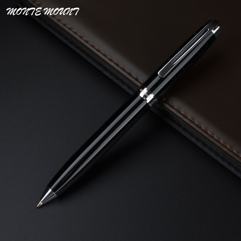 MONTE MOUNT High Quality School Office Stationery Perak hitam klip Engraved Barrel Luxury Ballpoint Pen