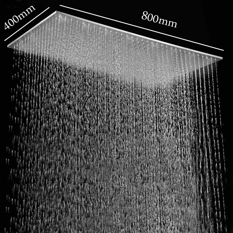 Bathroom Shower Products 400*800mm Ceiling Large Rain Showerheads 304 Stainless Steel Brushed Finish Shower Panel without LED